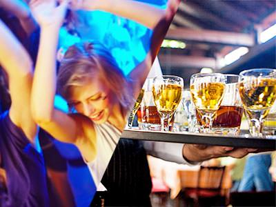 A split image of a girl partying with her hands in the air and a tray of sample beers