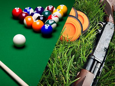 Split image of snooker balls on a table, and a shotgun in grass next to three orange, clay discs