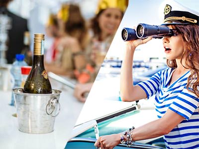 Split image of a champagne bottle in a silver ice bucket, and a woman in a sailot hat and striped top, looking through binoculars