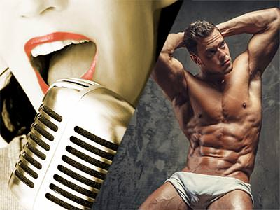 Split image of a woman's mouth singing into a mic, and a naked man posing in white underwear