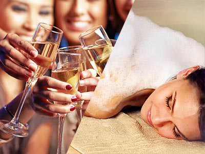 Split image of women holding full champagne flutes in front of them, and a woman lying on a towel with soap on her back