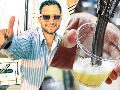 A split image of a man holding his thumbs up to a camera and a small beer being poured