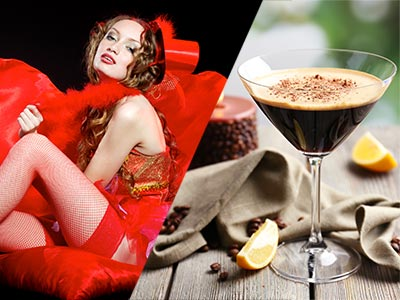 A split image of a woman wearing red lingerie and a coffee based cocktail in a martini glass
