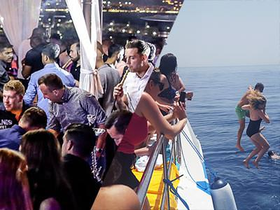 A split image of some men partying in a club and a man and woman jumping off a boat