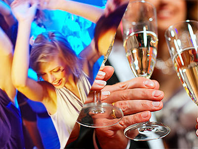A split image of a girl partying in a club and some girls hands holding champagne flutes