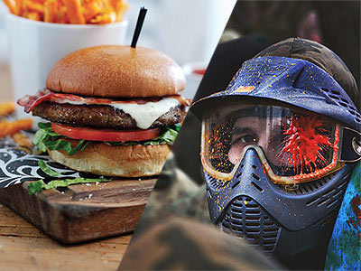 A split image of a burger meal and a man with a helmet on, covered in paint from paintballs