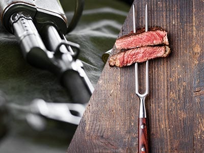 Split image of a rifle and two pieces of steak on a folk