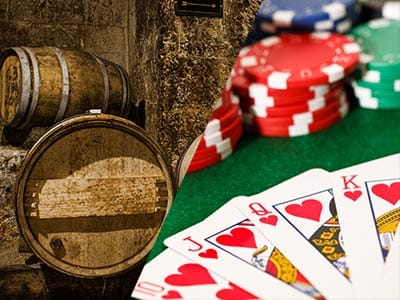 split images of wooden barrels and poker chips on table with playing cards