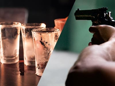 Split image of cold shots of vodka and a gun being held