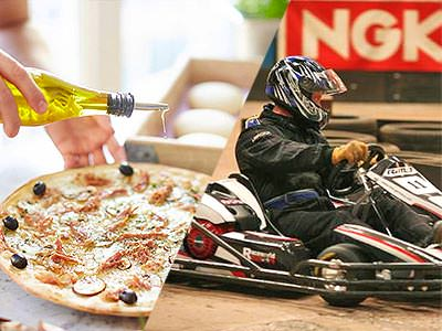 Split image of a hand pouring oil on a pizza, and a man driving a go kart