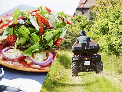 Split image of a pizza topped with salad, and the back of a man driving a quad bike in a field
