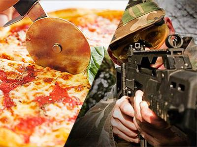 A split image of a pizza being cut and a man aiming a gun behind the camera