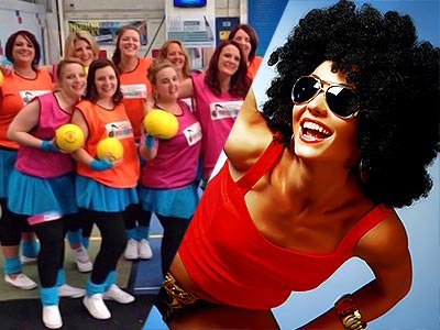 A split image of some women in bibs and a woman in a black wig bending over