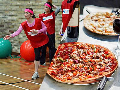 Split image of a woman in a sports bib, throwing something in an indoor hall, and two pizzas on a table