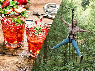 Two cocktails laid out on a wooden table and a woman zipwiring through a forest
