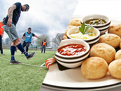 A split image of men playing goggle football and some dough balls on a plate