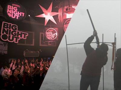 A split image of a big club night and a man shooting a gun into the air