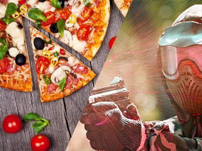 A split image of a pizza and a man firing a paintball gun