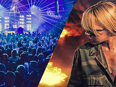 Split image of people on a dance floor in a club to a backdrop of blue light, and a woman looking sideways whilst wearing camouflage