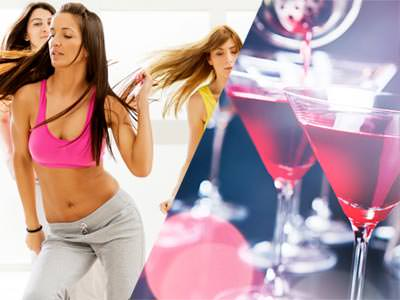 Split image of a woman dancing, and two Cosmopolitan cocktails