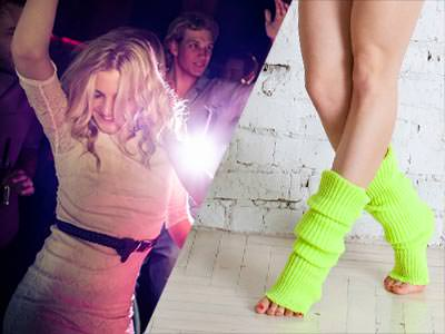 A split image of a woman dancing on a night out, and a womans legs wearing neon leg warmers
