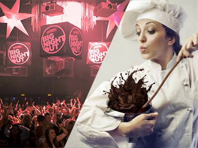Split image of people dancing in a club under pink lights, and a woman in chef clothes and mixing a chocolate bowl