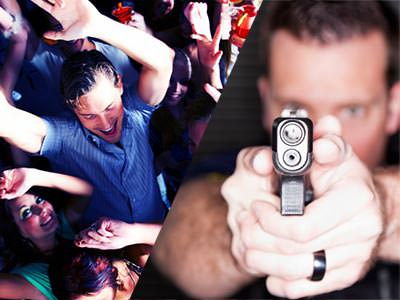 A split image of some people partying and a man firing a gun into the camera