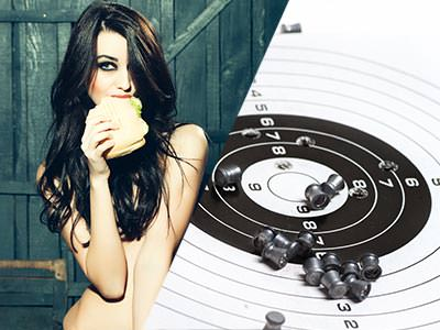 Split image close up of a naked woman holding a cup, and a target sheet with bullets on
