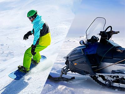 A split image of a snowboarder and a snowmobile in the show