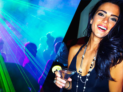 Split image of people dancing on a dancefloor to a backdrop of blue and green strobe lights, and a woman smiling whilst holding a cocktail