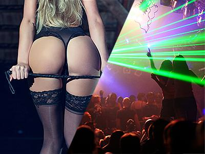 A split image of a woman holding a whip up to her bum and strobe lights in a club