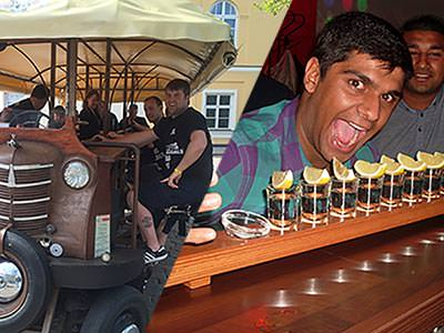 A split image of people on a beer bike and a man hovering his head over a line of shots