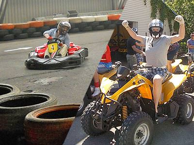 A man driving a go kart on a track, and a man holding his arms up whilst sat on a quad bike