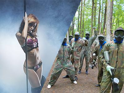 Split image of a woman holding a pole in underwear, and people in camouflage and masks, whilst holding a paintball gun
