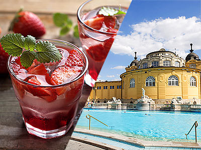 Split image of red cocktails topped with ice and basil, and the outdoor thermal baths in Budapest