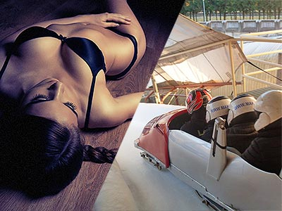 Split image of a woman reclining on the floor in black underwear, and the back shot of four people in a bobsleigh