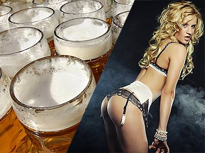 Full beer steins, and a woman bending forward in white underwear