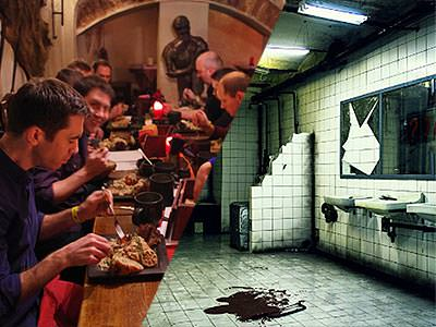 Split image of men eating at a long table, and a derelict bathroom with blood in the middle of the floor