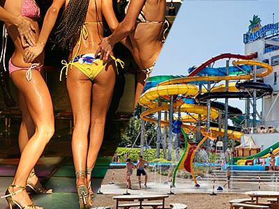A split image of some women in bikinis and heels, and a waterpark with huge multicoloured slides