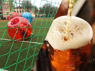 Split image of a goal net with people playing in zorbs in the background, and a pint being poured