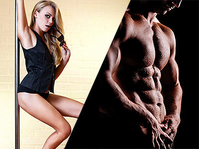 Split image of a woman dancing on a pole and a naked male torso to a black backdrop