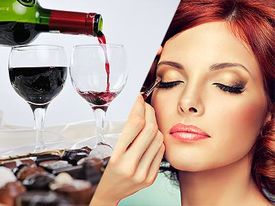 Split image of red wine being poured into two wine glasses, and a woman having her make up done