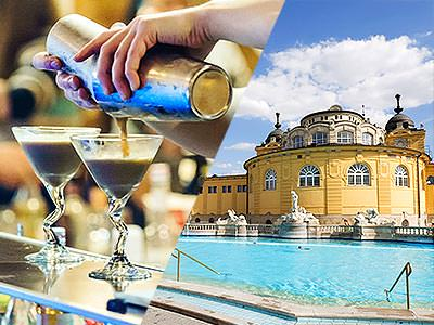 Split image of a man's hands pouring out cocktails into martini glasses from a cocktail shaker, and the outdoor thermal baths in Budapest