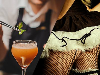 Split image of a woman placing a leaf onto an orange cocktail with tweezers, and the back of a woman in a black tutu and fishnets