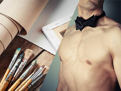 Split image of a roll of brown paper, paintbrushes and a canvas on a table and a naked male torso in a blac bowtie