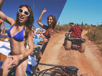 Split image of women in bikinis, holding their hands up and dancing on a boat, and the back of a man driving a quad bike on a muddy path