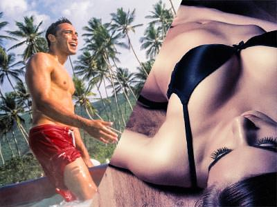 A split image of a man wearing red swimming trunks, covered in water and a woman in her underwear leaving backwards