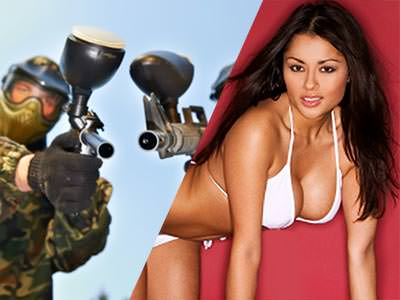Split image of two people in camo and aiming with paintball guns, and a woman on all fours in white bikinis to a red backdrop