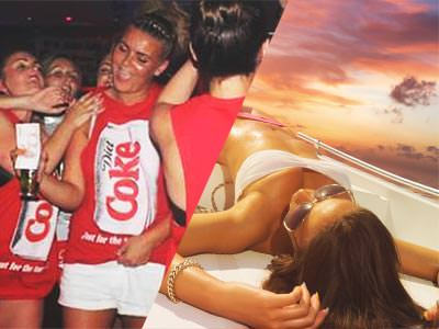 Split image of women wearing red Coca Cola vests and a woman reclining on a boat to a sunset backdrop