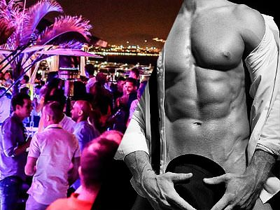 Split image of people on the terrace of Pangea at night, to a backdrop of pink light, and a black and white image of a man in a white shirt and holding a hat over his genitals